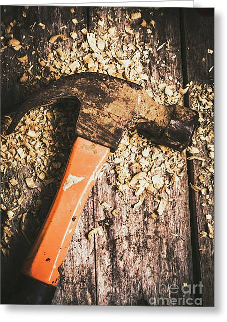 Hammer Details In Carpentry Greeting Card by Jorgo Photography - Wall Art Gallery