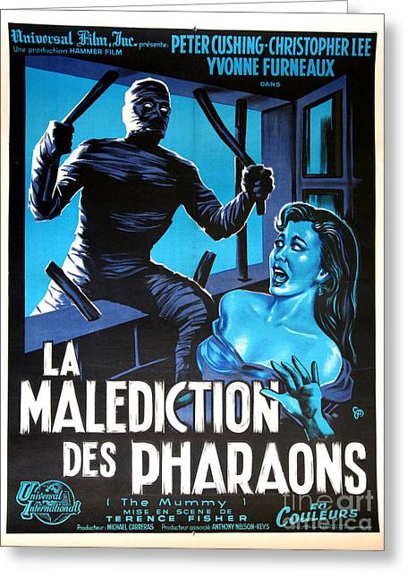 Hammer Movie Poster The Mummy La Malediction Des Pharaons Greeting Card by R Muirhead Art