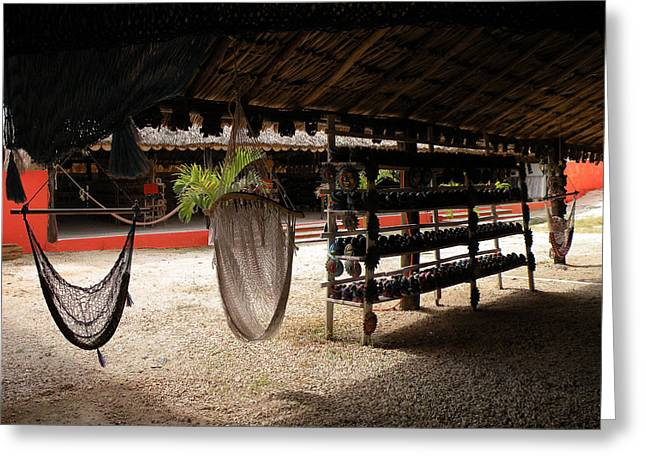Greeting Card featuring the photograph Hammocks At A Reststop by Dianne Levy
