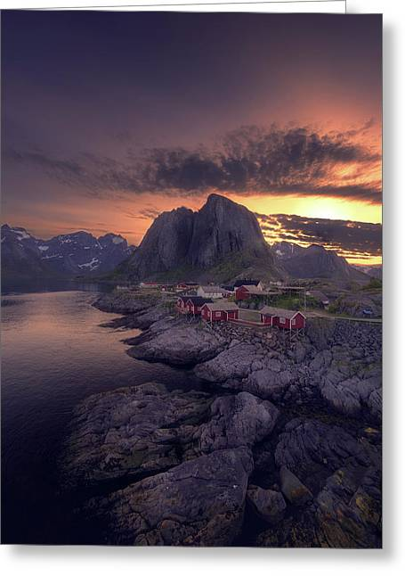 Hamnoey Sunset Greeting Card by Tor-Ivar Naess