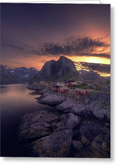 Hamnoey Sunset Greeting Card by Tor-Ivar Naess