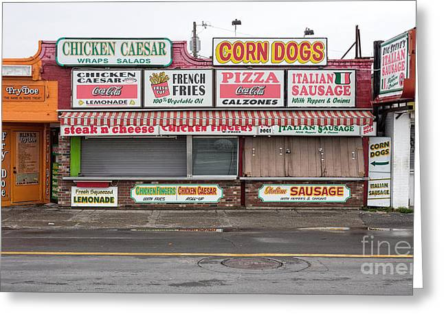 Hampton Beach Food Vendors Greeting Card by Edward Fielding