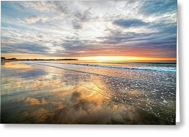 Hampton Beach Sunrise Hampton Beach State Park Hampton Nh Reflection Greeting Card by Toby McGuire