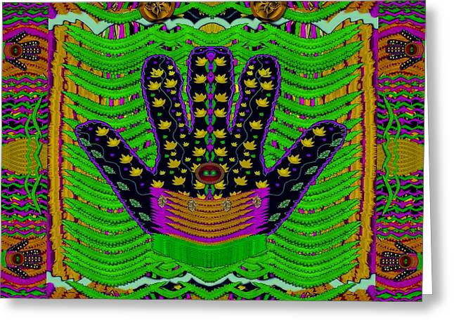 Hamsa Hands For Good Luck Greeting Card by Pepita Selles