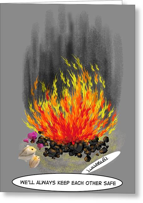 Hamsters By A Fire Greeting Card by Lunakiri