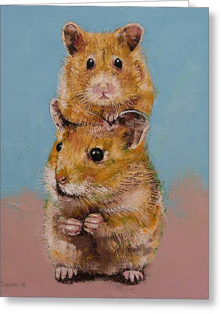 Hamsters Greeting Card by Michael Creese