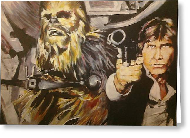 Han And Chewie Greeting Card by Brian Child