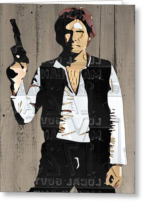 Han Solo Vintage Recycled Metal License Plate Art Portrait On Barn Wood Greeting Card by Design Turnpike
