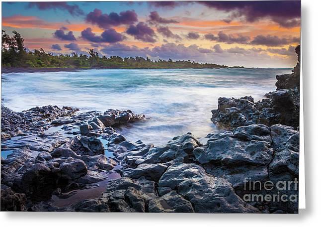 Hana Bay Rocky Shore #1 Greeting Card by Inge Johnsson