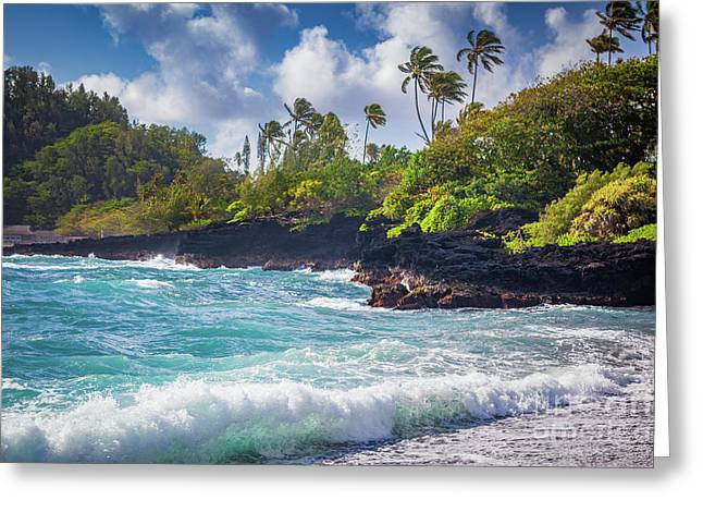 Hana Bay Waves Greeting Card by Inge Johnsson