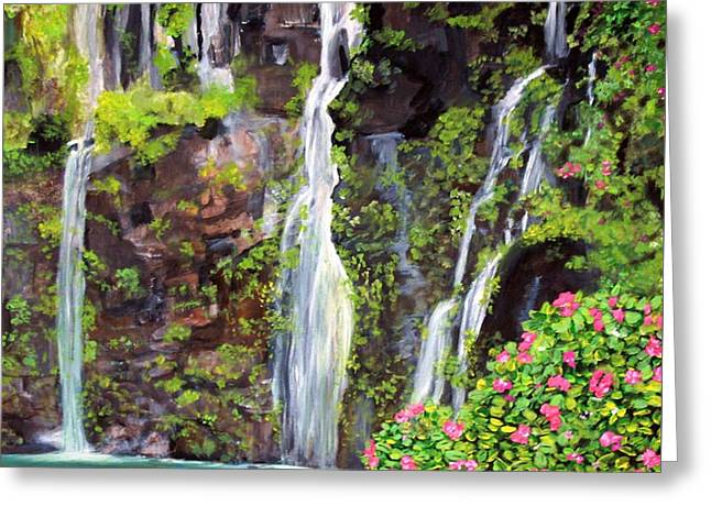 Hana Waterfall In Maui Greeting Card