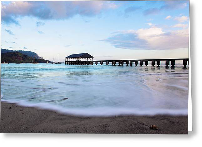 Greeting Card featuring the photograph Hanalei Bay Pier At Sunrise by Melanie Alexandra Price