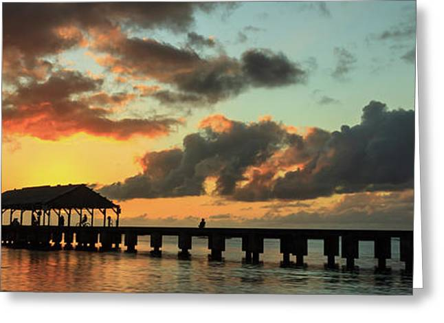Hanalei Pier Sunset Panorama Greeting Card by James Eddy