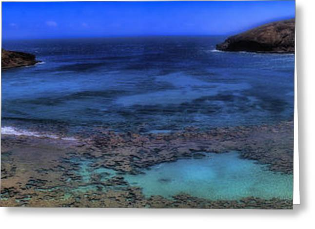Greeting Card featuring the photograph Hanauma Bay Panorama by Ellen Heaverlo