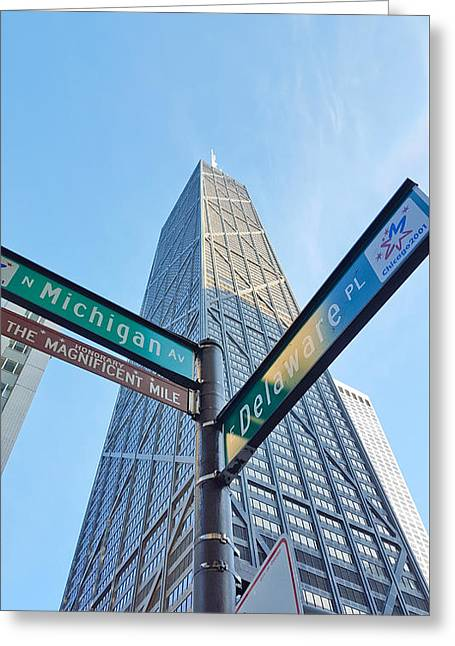 Hancock Building With Street Signs Greeting Card