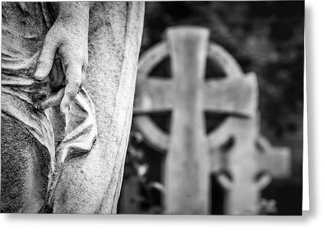 Hand And Cross Greeting Card by Sonny Marcyan