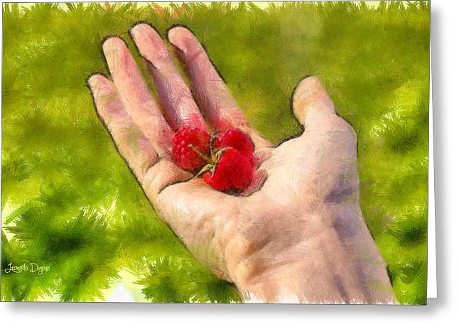 Hand And Raspberries - Da Greeting Card