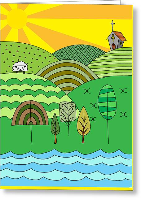 Hand Drawn Cartoon Style Doodle Illustration Of Counrtryside Lan Greeting Card