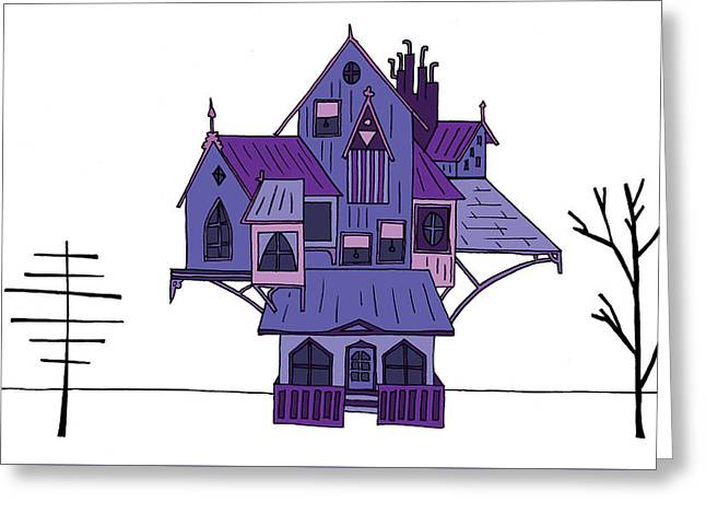 Hand Drawn Cartoon Style Doodle Illustration Of Haunted Spooky H Greeting Card