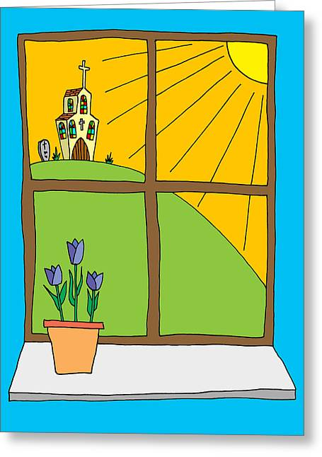 Hand Drawn Cartoon Style Doodle Illustration Of Spring Tulips On Greeting Card