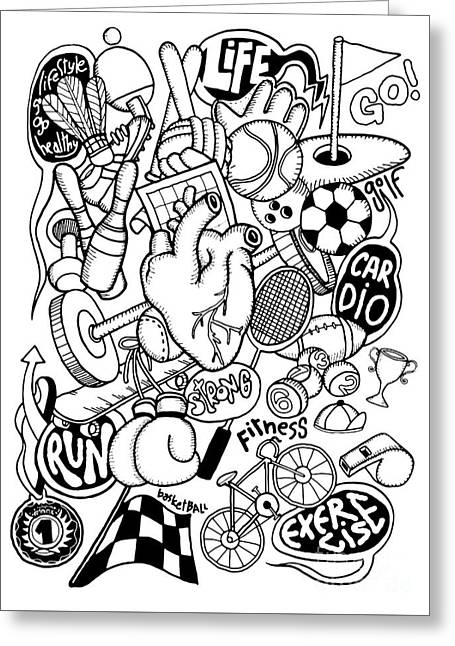 Hand Drawn Doodle Sport Equipment, Illustrator Line Tools Drawin Greeting Card