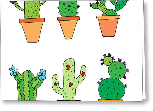 Hand Drawn Illustration Of Whimsical Cartoon Style Cactus Plants Greeting Card