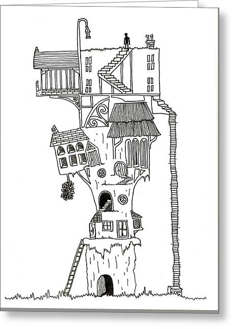 Hand Drawn Line Drawing Of Enchanted Fantasy Style Treehouse Greeting Card