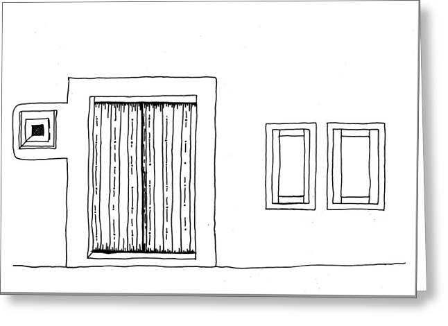 Hand Drawn Line Drawing Of Mediterranean Style House Front With  Greeting Card