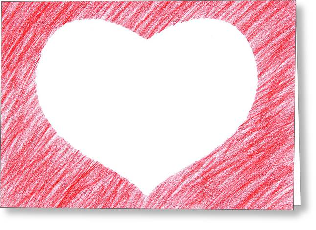 Hand-drawn Red Heart Shape Greeting Card