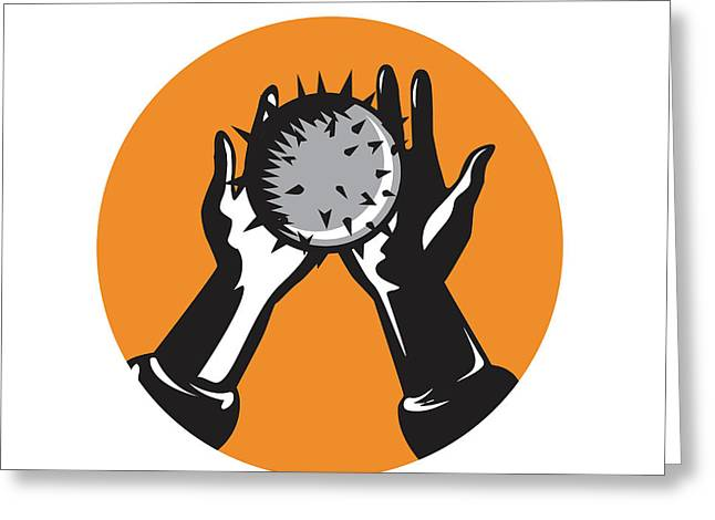 Hand Holding Ball With Spikes Circle Woodcut Greeting Card