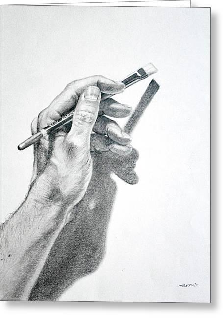 Hand Holding Brush Greeting Card