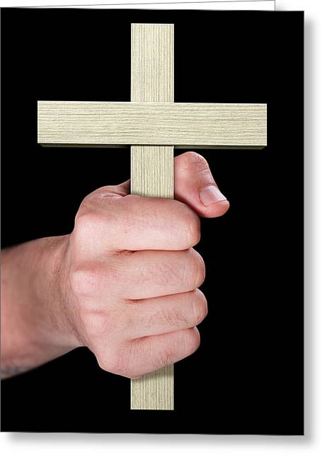 Hand Holding Crucifix Greeting Card