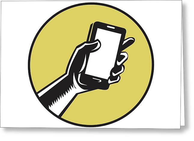 Hand Holding Smartphone Circle Woodcut Greeting Card