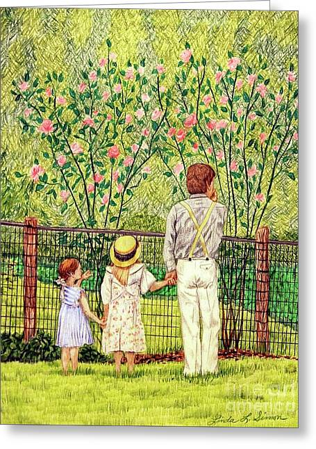 Hand In Hand Greeting Card by Linda Simon