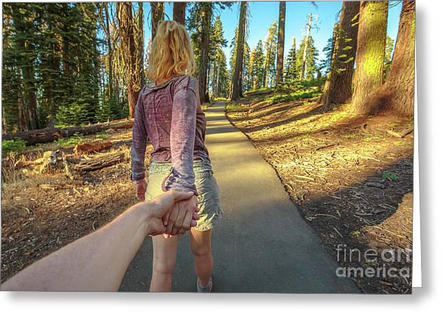 Hand In Hand Sequoia Hiking Greeting Card
