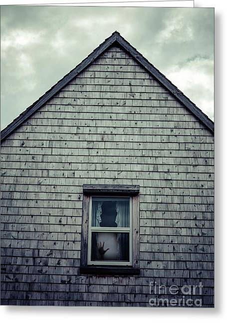 Hand In The Window Greeting Card by Edward Fielding