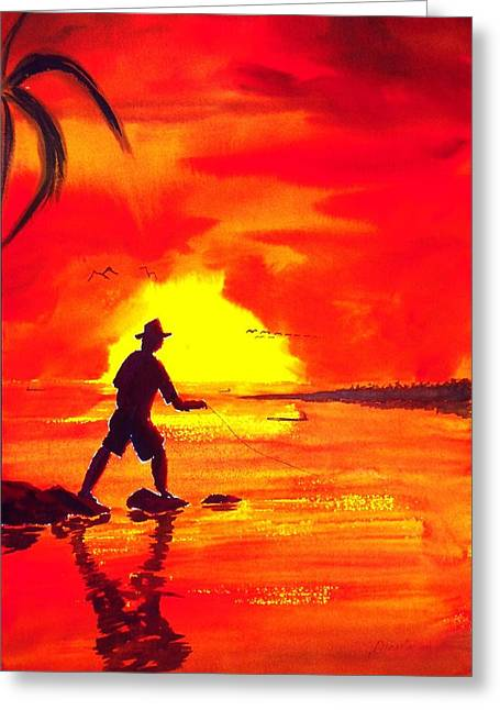 Hand Line Fisherman Greeting Card by Buster Dight