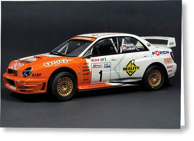 Hand Made Model Subaru Impreza Wrc 2001 Scale 1 24 Greeting Card by Jacek Halicki