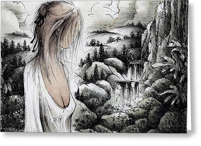 Hand Maiden Of God Greeting Card by Rachel Christine Nowicki