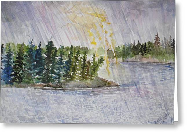 Hand Of God Storm Over Lake Jordan Greeting Card by Mona McClave Dunson