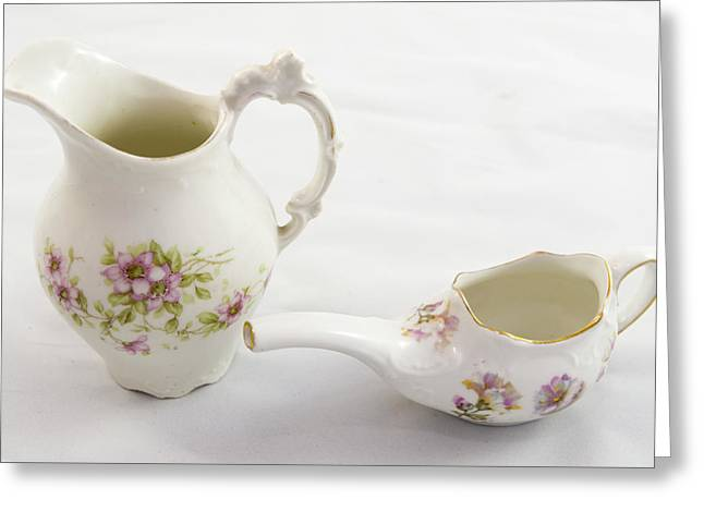 Hand Painted Ceramic Antique Pitcher And Creamer Greeting Card