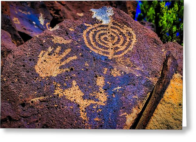 Hand Print On Rock Greeting Card