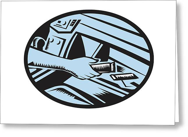 Hand Reaching In Glove Box For Energy Bar Oval Woodcut Greeting Card