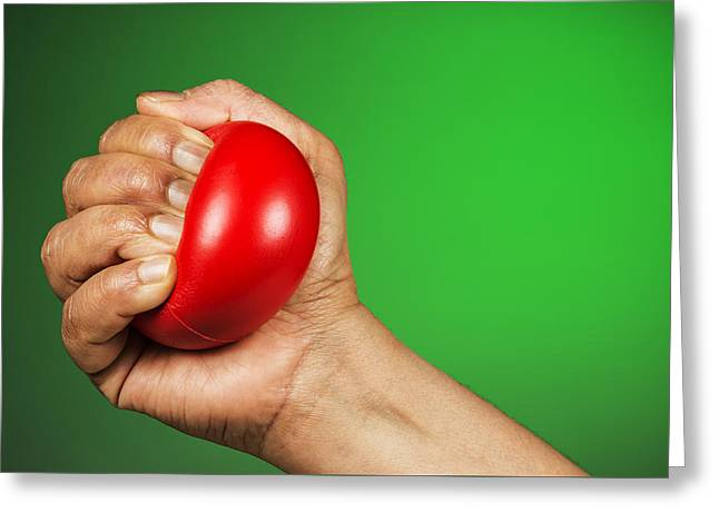 Hand Squeezing Red Stress Ball Greeting Card