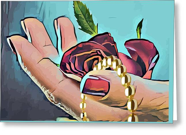 Hand With Red Rose And Pearls Greeting Card