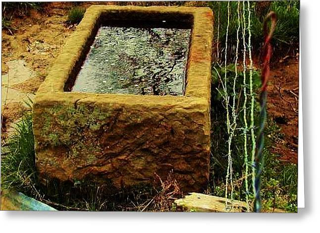 Handcarved Stone Water Trough Greeting Card