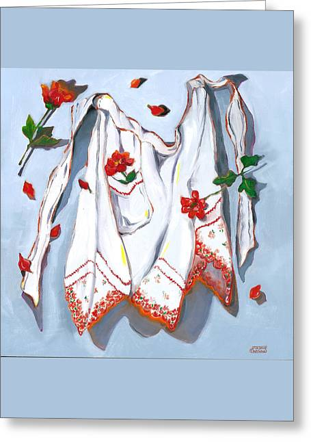Greeting Card featuring the painting Handkerchief Apron by Susan Thomas