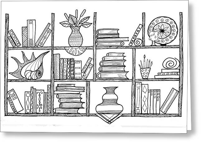 Handmade Graphic Picture Bookshelf Greeting Card by Julia Faranchuk