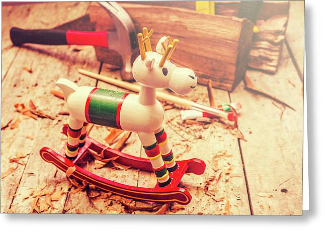 Handmade Xmas Rocking Toy Greeting Card