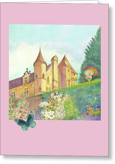 Handpainted Romantic Chateau Summer Garden Greeting Card